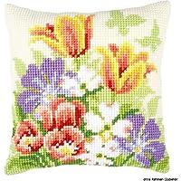 Vervaco Cojín de punto de cruz (diseño de flores primaverales, tela pintada a mano para facilitar el bordado)