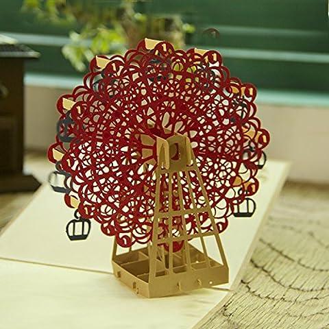 Grande roue rouge 3D pop up carte de v?ux Anniversaire pour anniversaire bébé de Pâques Halloween Mère de Père de Jour de Nouvelle Année New Home Thanksgiving Valentine de mariage de Noël