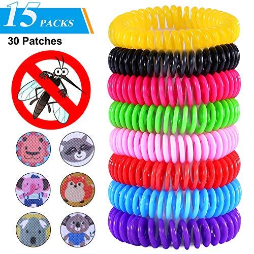 TEPSMIGO Mückenschutz Armband, Mückenarmband, Moskito Armband,Anti mücken Armband, 15 Armbänder und 30 Mückenschutz-Pflaster für Erwachsene und Kinder