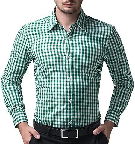 Kentkragen Hemd Klassische Langarm Hemd Slim Fit Kariert Freizeithemd L CL6299-6