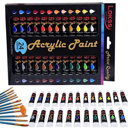 Set mit 24 Acrylfarben SANVA ink. 12 Stück Künstlerpinsel Besonders hochwertige und nicht-toxische Farben Perfekt zum Bemalen von Leinwänden, Holz, Keramik, Ton, Stoff, Nagelkunst