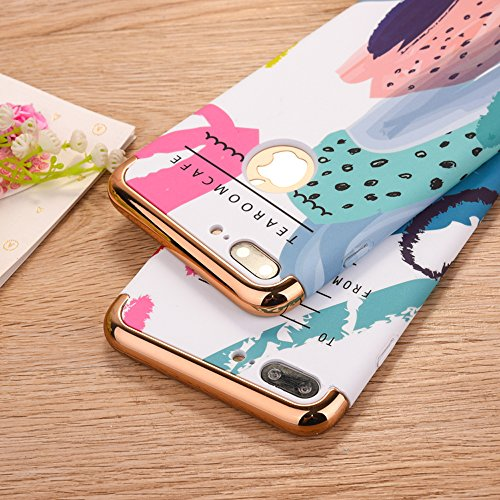 """Protecteur étui avec Détachable Plating Border pour Apple iPhone 7Plus 5.5""""(NON iPhone 7 4.7""""), CLTPY Mode Beau Flower Impression Motif Nocturnes Lumineux Case en Dur Plastique, Ultra Fine Slim Bumper Graffiti Peint 8"""