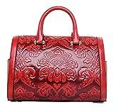 PINCHU Frauen Designer Top Griff Tote Große Blumenmuster Büro Casual Handtasche,Red