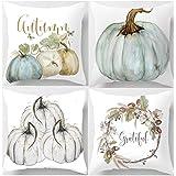 Amkun 4 Stück Happy Fall Yall Kürbis Halloween Thanksgiving Kissenbezug Dekoration Baumwolle Dekokissenbezug