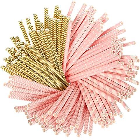 100Stück Farbenfrohe Papier Trinkhalme für Geburtstage, Hochzeiten, Weihnachten, Feiern und Partys, etc.. pink and brown