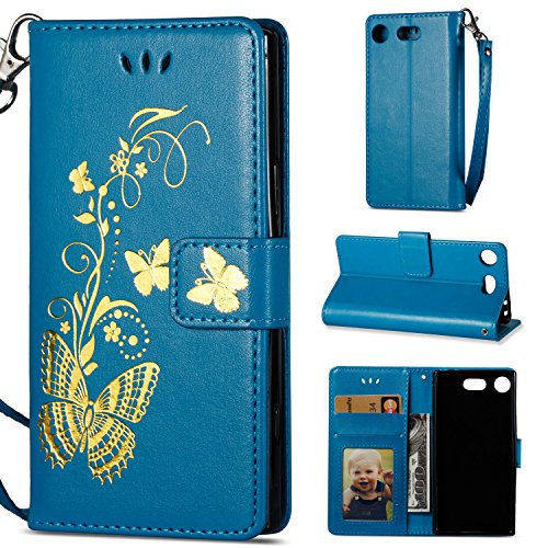 Sony Xperia XZ1 Compact Hülle - Linvei Bronzing Schmetterling Blume / PU Leder Hülle Tasche Case Cover für Sony Xperia XZ1 Compact (4.6 Zoll) - Blau (Bronzing Compact)