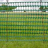 Warnzaun, Bauzaun, Absperrzaun Medium Plus, 200g/m², 1 x 50m, grün + 10 rostfreie Stahlstangen Ø8mm, 1.30m, zur Absicherung und Kennzeichnung von Baustellen, Gefahrenzonen, Loipen u.a.