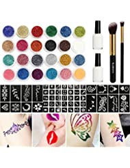Tatouages Temporaires Peinture pour le visage, Kit de Tatouage Paillette, Maquillage de Fête (Halloween)Avec 24 Couleurs Brillantes,108 Feuilles avec Motif de Tatouage à Thème Unique, Glitter Body Art