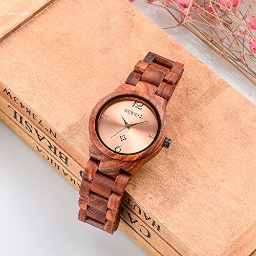 Alienwork Damen-Armbanduhr Quarz rot mit Holz-Armband Rose-Gold Holzuhr Natur-Holz - 5