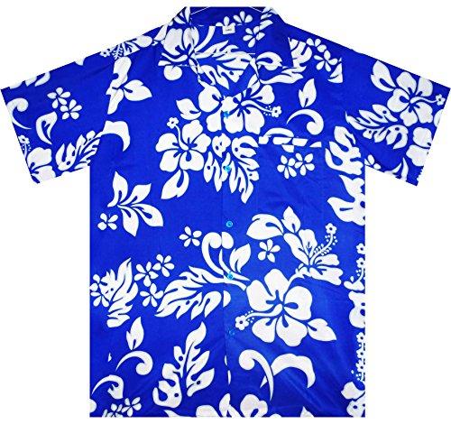Funky-Camisa-Hawaiana-Hibiscus-azul-ndigo-6XL