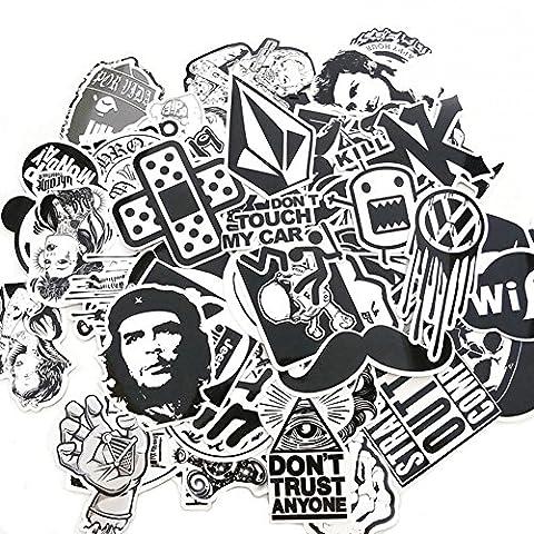 Suboer 60pcs Aléatoire Autocollants Snowboard Vintage Vinyl Skateboard Stickers Autocollant Aléatoire Graffiti Laptop Bagages Car Bike Stickers vélo mix Alot Cool Decal