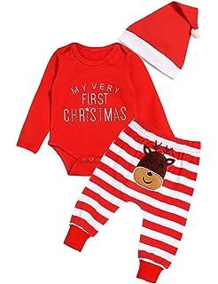 Geagodelia My 1st Christmas Newborn Baby Boys Girls Outfit Red Long Sleeve Romper Cartoon Pants Hat Xmas 3Pcs Set Clothes