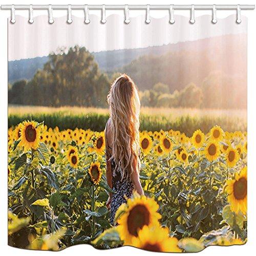 Vorhänge A Lady in Field Cover der Sonnenblumen Polyester-Schimmelresistent-Bad Vorhang Badezimmer Dusche Vorhang Set mit Haken 180x 180cm Badezimmer Zubehör ()