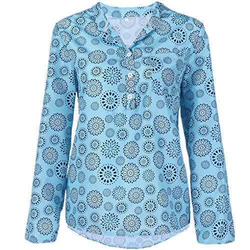 Große Größe T-Shirt Oberteile für Damen/Dorical Frauen Kurzarm/Lange Ärmel V-Ausschnitt Knopfleiste Lose Drucken Sweatshirt Tunika Sommer Elegant Casual Tops S-5XL Reduziert(Hellblau,X-Large)