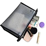 Portable Clear Toiletry Bags, Waterproof Hand Pouch Organizer Travel Makeup Shower Bath Kits Storage Cosmetic Pouch Shaving Case for Women and Men (Black)