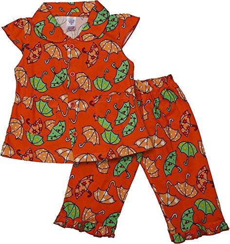 Nauti Kidz Baby Girls' Cotton Night Suit Set (NK053PCUMBRELLAOR-12-18Months, Multi-Coloured, 12-18Months)