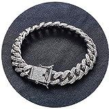 AmDxD Glänzend Armband Kubanische Kette Armbänder Herren Handhandgelenk Kette Weiß Gold(8 Zoll) mit Weiß Zirkonia