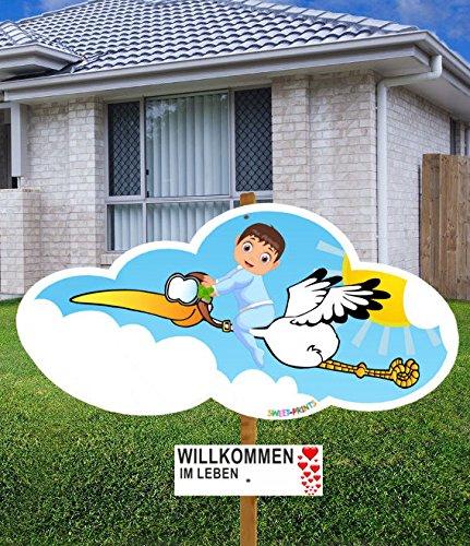 98 cm Baby-Klapperstorch & Beschriftungstafel JUNGE BLAU für draußen Geburt Storch-Holz Alternative 5