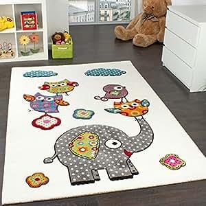 Paco Home Tapis Chambre d'enfant Adorable Monde Animal Eléphant Amis Crème Bleu Gris Rouge, Dimension:160x220 cm