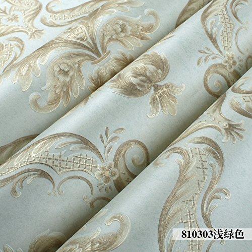 S.Twl.E Kreative_3D Textured Damaskus Continental Hellgrün Schlafzimmer Wohnzimmer Einrichtung Non Woven Eco Wallpaper Wandhalterung