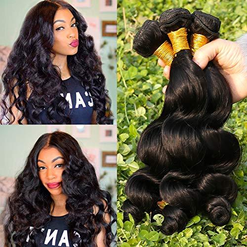 8A Brazilian Hair Waves 3 Bundles 100% Remy Human Hair Weave Loose Wave Bundles Weave Bundles Hair Extensions Echthaar Tressen Brasilianische Haare 14 16 18 Zoll Natural Color Total 300g -