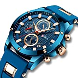 Mens Blue Watches Men Military Chronograph Luminous Waterproof Sport Watch Gents Large Face