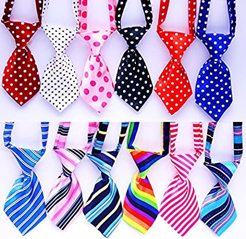 Yagapet 12pcs/pack New Pet Dog Neckties Fashionable Cute stripes and Love Polka Dots Styles Dog Ties Adjustable Pet Grooming Products Dog Accessories Cute Gift