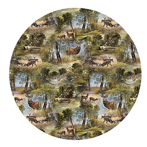 DecoHomeTextil Wachstuchtischdecke Wachstuch Tischdecke Gartentischdecke Rund Oval Jagd Wild Rund ca. 140 cm abwaschbare Wachstischdecke
