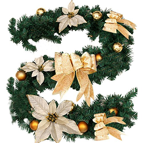 6Ft/1.8M Christmas Garland for Stairs fireplaces Christmas Garland Decoration Xmas Festive Wreath Garland with Flower & Bow Gold