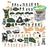 Juvale 100 Piece Military Figures and Accessories - Toy Army Soldiers in 2 Colors, War Soldiers Playset with 2 Flags and Battlefield Accessories