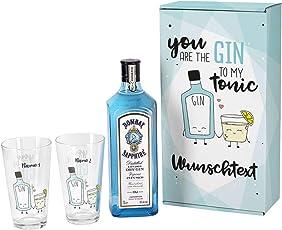 Bombay Sapphire Gin Geschenkset - You are the Gin to my Tonic - mit 1 l Bombay Sapphire und 2 bedruckten Longdrinkgläsern und schöner Verpackung mit Wunschnamen und Wunschtext