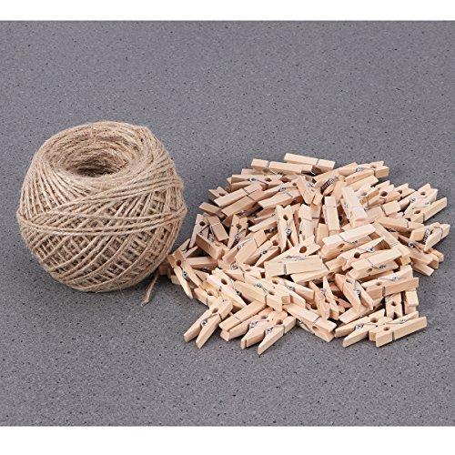 Winomo 100 pezzi mini matite di legno foto clips pin nota memo messaggio carta postale con un rotolo di 100 mt