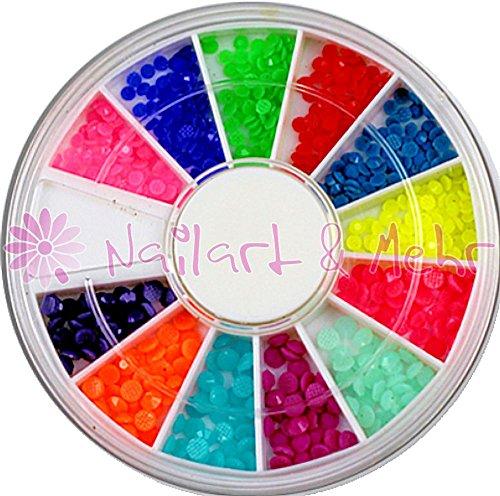 360 Petite de Nail Art strass avec facettes 'carat' ~ couleurs fluo ~ ronde en plastique 2 + 3 mm dans la Petite de Strasbourg