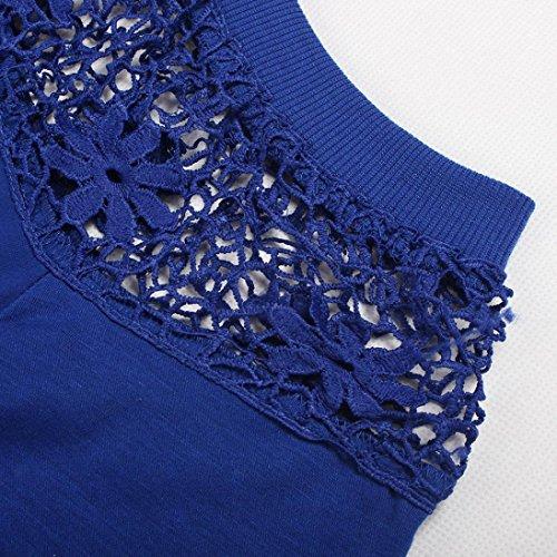 Tops, Yogogo Frau Damen Spitze Tops Art und Weise T Shirt Lose Plain Bluse Blau