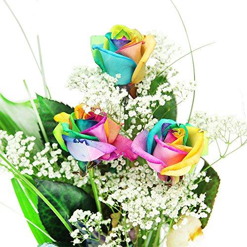 3 bunte Rosen – dekoriert und inklusive gratis Kultvase