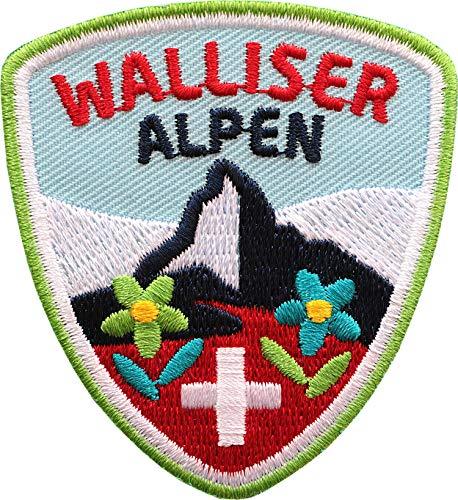 Club of Heroes 2 x Walliser Alpen Abzeichen 55 x 60 mm gestickt/Schweiz Bergtour Zermatt Matterhorn Bergsteigen Wandern Klettern/Aufnäher Aufbügler Sticker Patch/Wallis Suisse Reiseführer Wanderkarte -