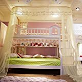 U corte tipo litera mosquitero cama dosel, Carril tipo Niños Mallas para las camas de cucheta 50d cifrado cuenta hilo mosquito cortina-amarillo Twin2