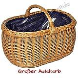 ForYourProtection Einkaufskorb mit Einlage Weidenkorb Autokorb Weide Korbwaren Korb GROßES Auswahl (Typ 39: (L) 52 x (B) 35 x (H) 27/36) mit Stoffbezug