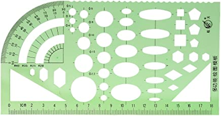 NF&E Green Plastic Drafting Drawing Tool Ruler Geometric Oval Template for Students 1