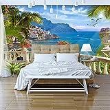 murando - Fototapete Tropische Insel 350x256 cm - Vlies Tapete - Moderne Wanddeko - Design Tapete - Wandtapete - Wand Dekoration - Strand Meer See Himmel Blau Landschaft Italien Palmen Terrasse c-B-0101-a-a