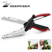 Zeerkeer   Forbici da cucina e tagliere in acciaio inox  2 in 1  rimovibili e multiuso  facili da pulire  ideali per picnic e viaggi in campeggio