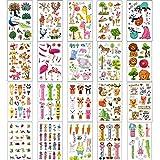 SIMUER Zoo Animales Tatuajes temporales, 20 Hojas Leones Cebra Pereza Jirafa Flamencos Elefante Elk Pegatina de Dibujos Animados de la Selva para niños Niños Chicas Chicos