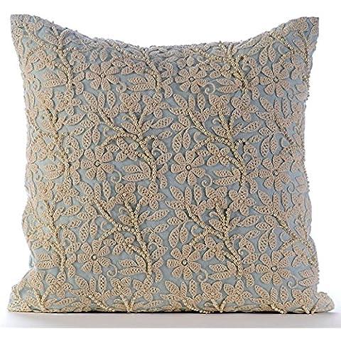 Azul Claro Cojines Decorativos, francés Floral Fundas De Cojines, 30x30 cm Fundas De Almohadas Decorativas, Sabana de algodon Perlas Y Cordón Del Ganchillo Cubierta De Almohadas - Floral