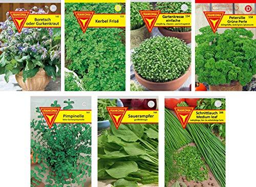 Grünes Kraut Samen (Frankonia-Samen / Kräuter / Samen-Sortiment / 7 Sorten / Grüne Soße Mix / die berühmte Frankfurter Grüne Soße zum Selbermachen)
