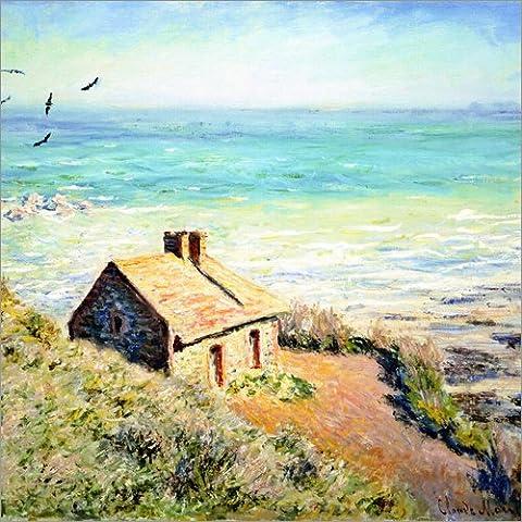 Leinwandbild 50 x 50 cm: Zöllnerhaus des Fischers b. Varengeville von Claude Monet - fertiges Wandbild, Bild auf Keilrahmen, Fertigbild auf echter Leinwand, Leinwanddruck