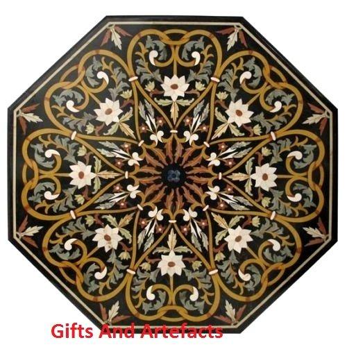 Inlay-top-couchtisch (Couchtisch Top 91,4cm Octagon schwarz Marmor Inlay Herz Design & Einlegearbeiten Art)