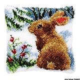 Vervaco Kaninchen im Schnee Knüpfkissen mit Knüpfhaken, Baumwolle, Mehrfarbig,...