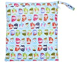 niceEshop(TM) Baby Infant Waterproof Zipper Wet and Dry Diaper Bag for Baby Carriage (Owl Print)