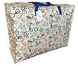 Große Aufbewahrungstasche. Grau mit Fahrrädern Muster. Strapazierfähige robuste Aufbewahrungstasche Wäsche und Bettwäsche Tasche. (60 * 545 * 25CM, 65L)