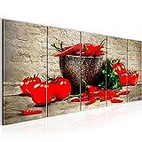 Bilder Küche - Gemüse Wandbild 200 x 80 cm - 5 Teilig Vlies - Leinwand Bild XXL Format Wandbilder Wohnzimmer Wohnung Deko Kunstdrucke Braun - MADE IN GERMANY - Fertig zum Aufhängen 005855a